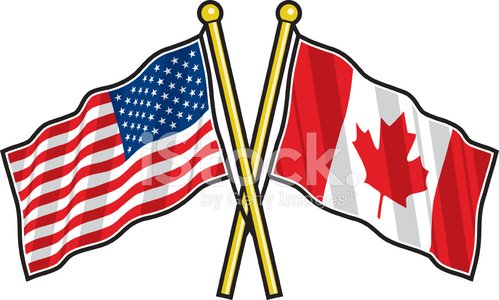 American and Canadian Friendship Flag premium clipart.