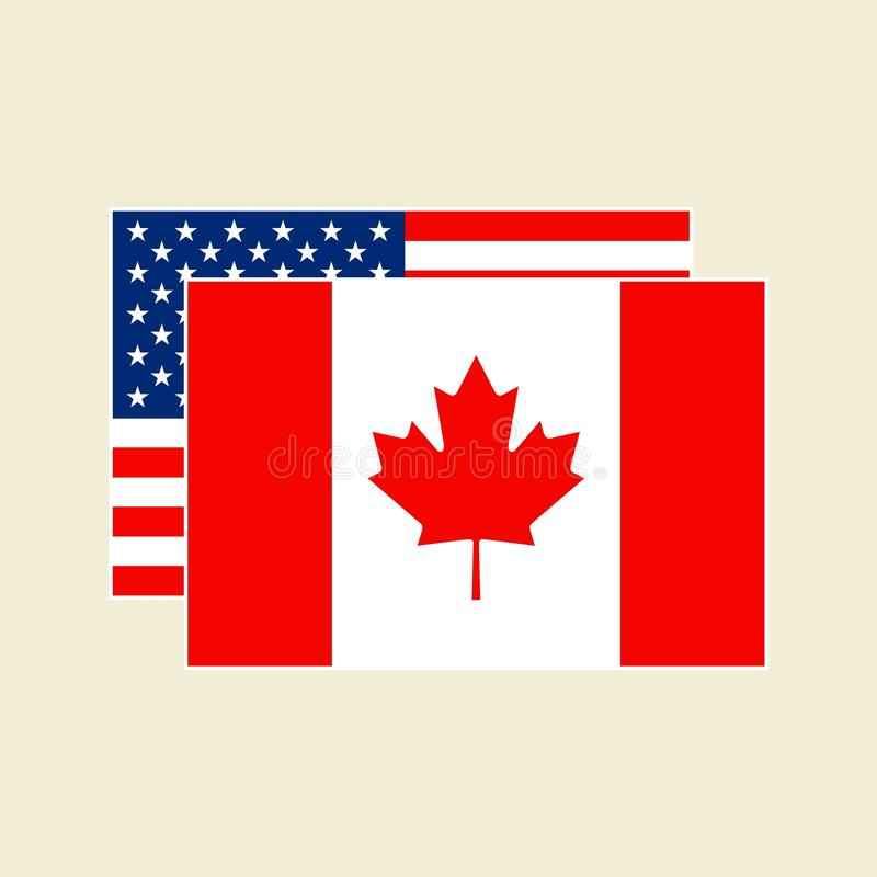 Canadian American Flags Stock Illustrations.