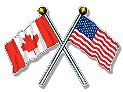 Crossed Poles USA & Canada Waving Flags Sticker (American Canadian).