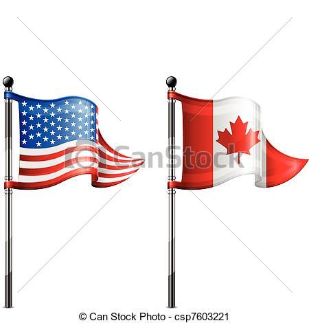 USA & Canada flags.