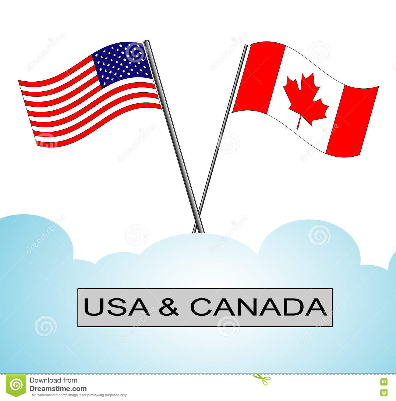 American Flag Crossed With Canadian Flag Stock Vector.