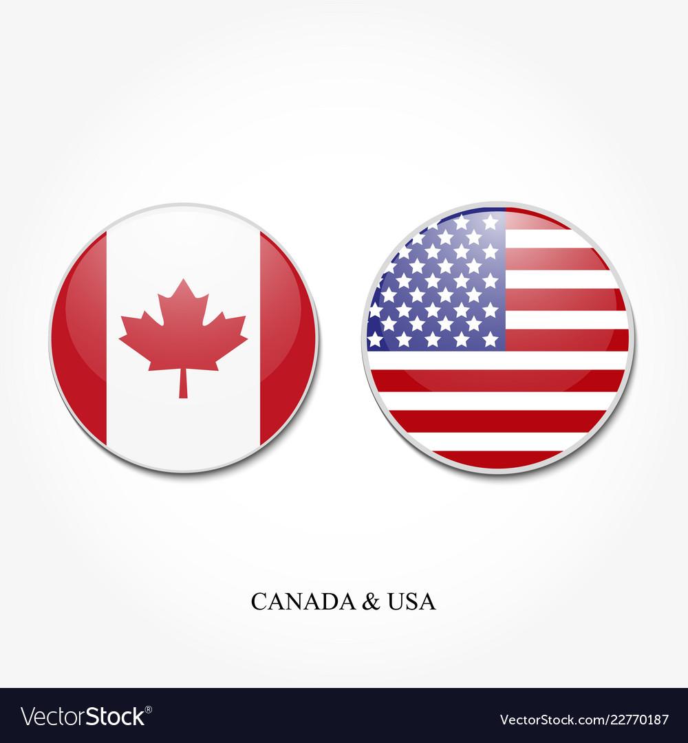 Usa And Canada Flag Vector.