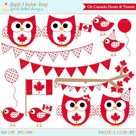 Verkauf Kanada Tag Clipart Eulen Vögel kanadischen ClipArt digital.