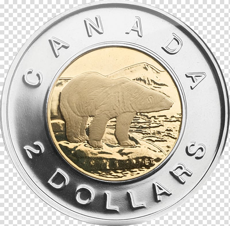 Canada Toonie Loonie Canadian dollar Royal Canadian Mint, silver.