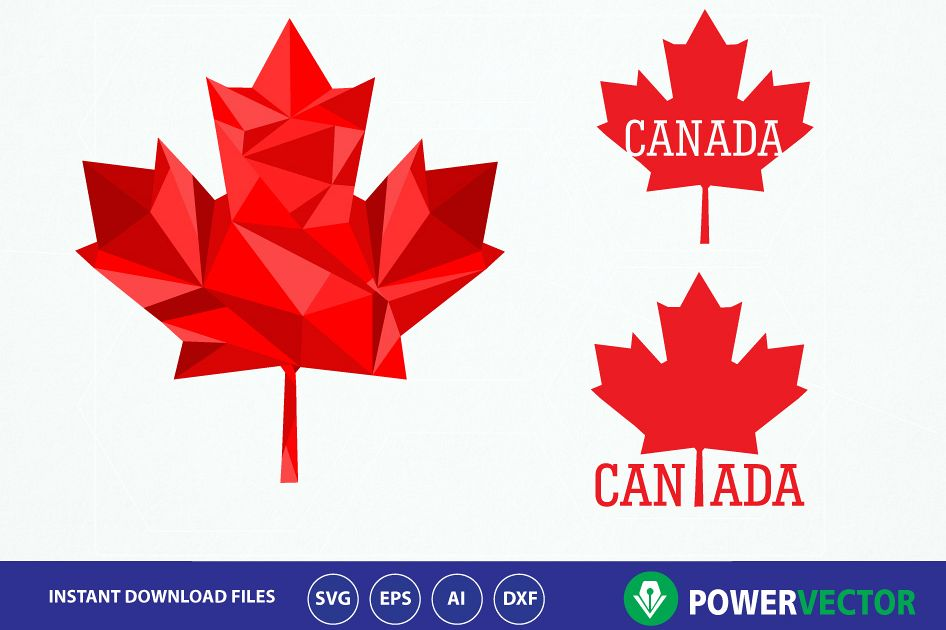 Canada Maple Leaf Svg. Iron on design maple leaf Svg. Canadian maple leaf  clipart. Vector Maple leaf png, eps, ai files. Low poly design maple leaf.