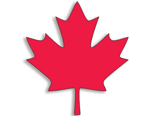 Red MAPLE LEAF Shaped Sticker (canada canadian decal flag logo).
