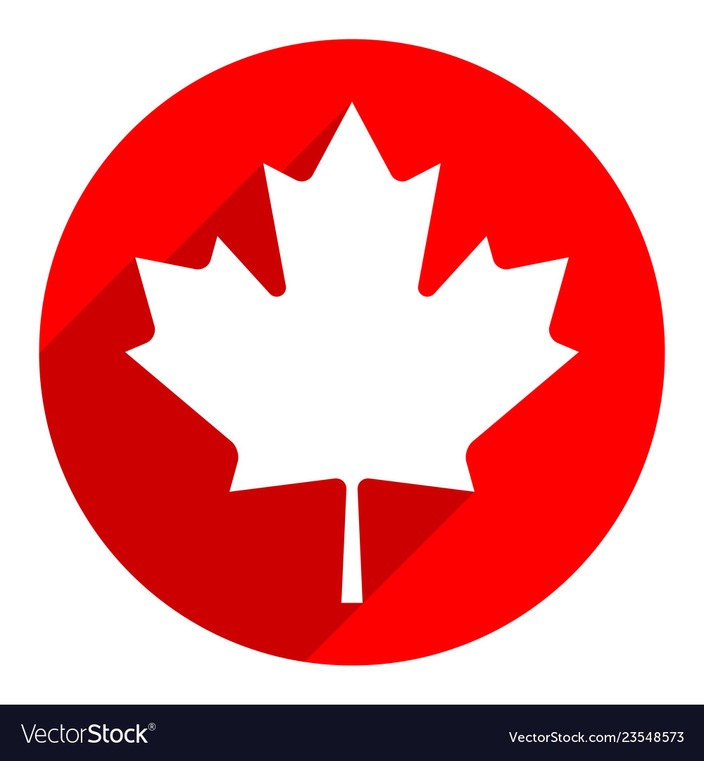 Canadian maple leaf on circle shape in flat style.