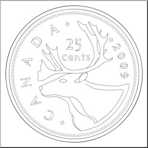 Clip Art: Canadian Money: Quarter B&W I abcteach.com.