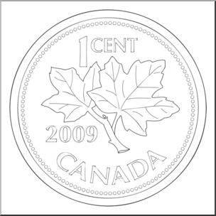 Clip Art: Canadian Money: Penny B&W I abcteach.com.