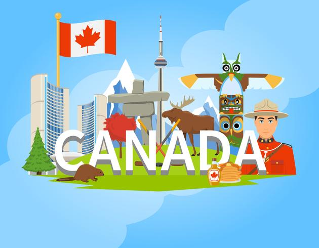 Canadian National Symbols Composition Flat POster.