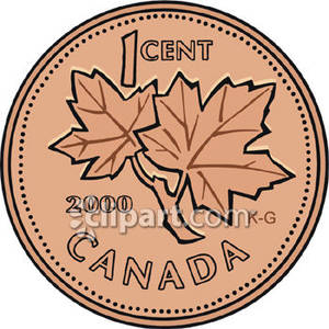 Canadian penny clipart.