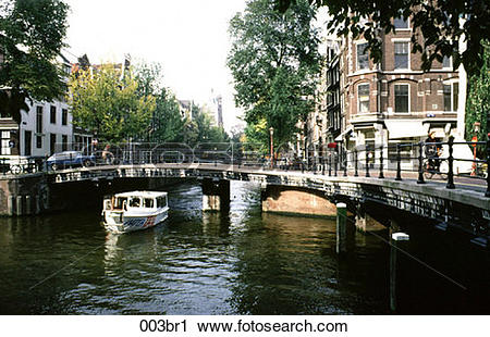 Stock Photography of ARCH, Canal, Bridge, Boat, Amsterdam 003br1.