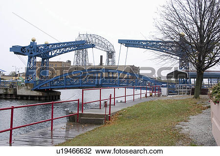 Stock Photo of aerial, lift, park, canal, bridge, pedestrian.