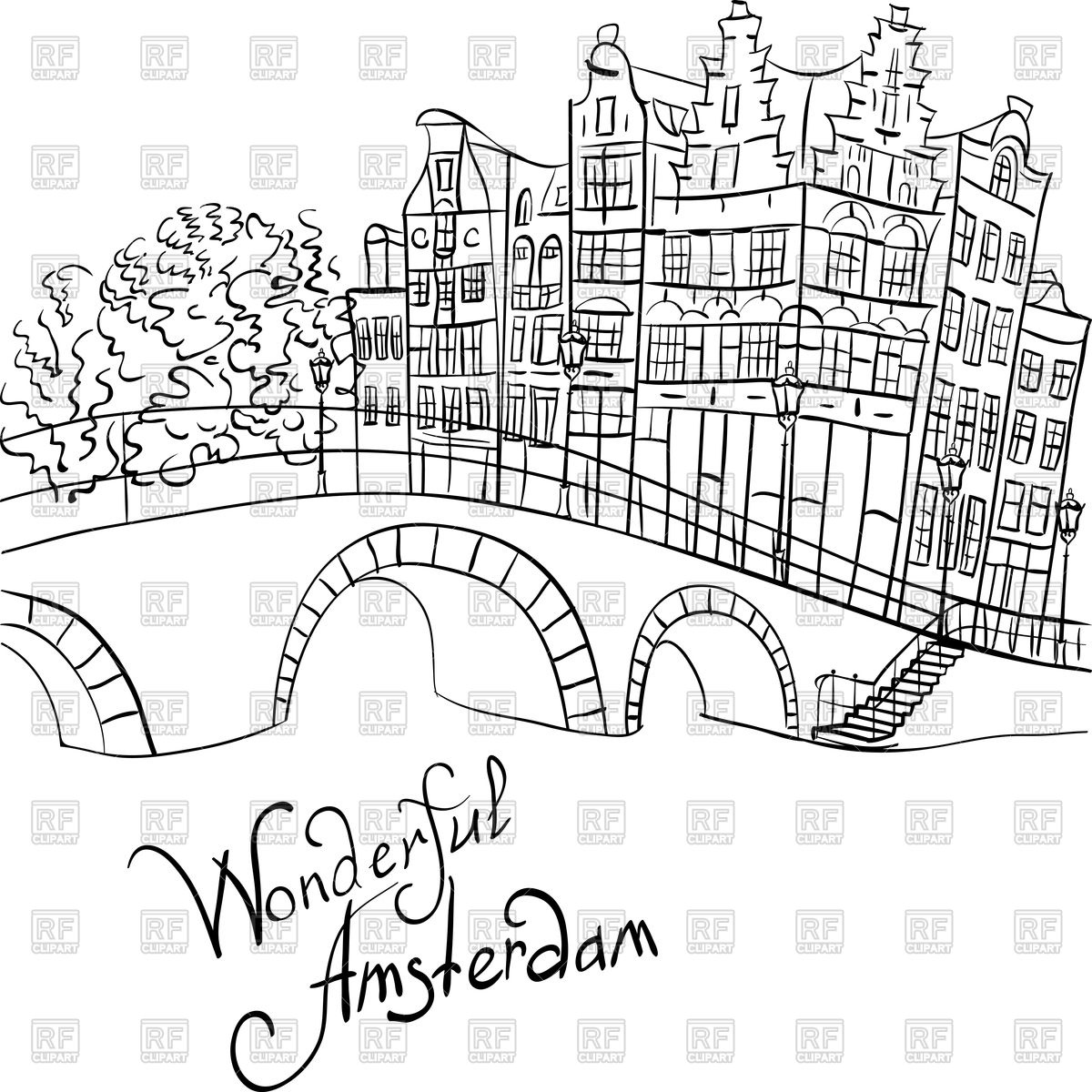 Amsterdam canal, bridge and typical houses Vector Image #94594.