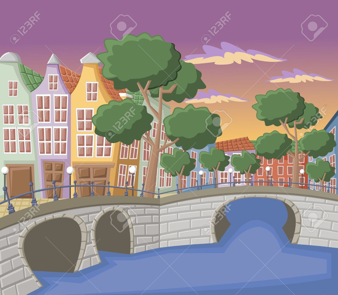 Canal with water clipart.