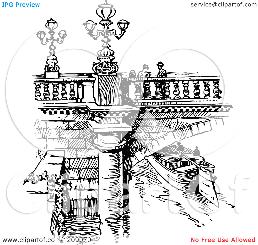 Clipart of a Vintage Black and White Parisian Bridge and Canal.