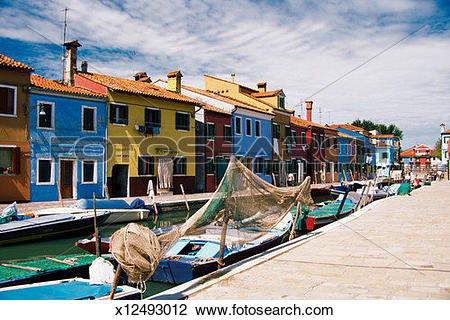 Stock Photo of Fishing boat on canal, Venice, Italy x12493012.