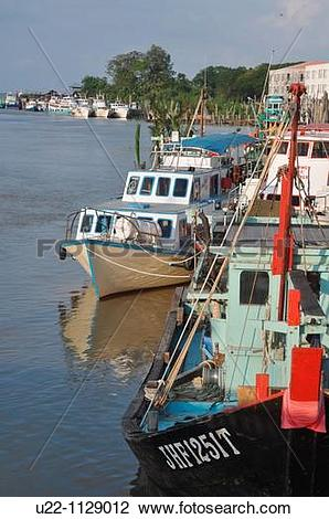 Stock Photo of Mersing (Malaysia): fishing boats along the Suungal.