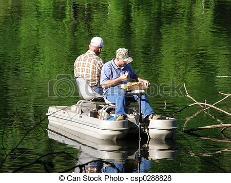 Pictures of Men Fishing in Boat.