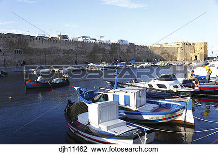 Stock Photo of Africa, Tunisia, Bizerte, Old Port Canal, Fishing.