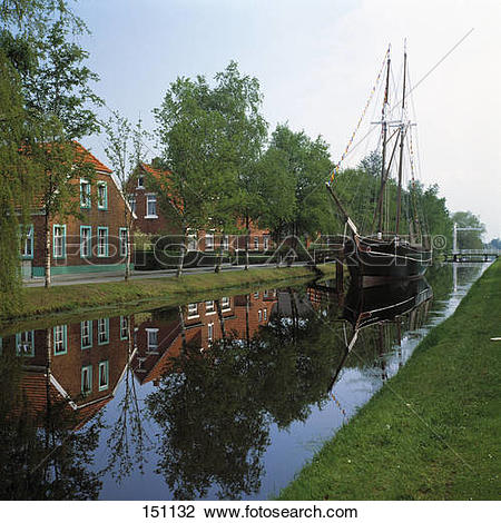 Stock Photo of Fishing boat in canal, Papenburg, Emsland, Lower.