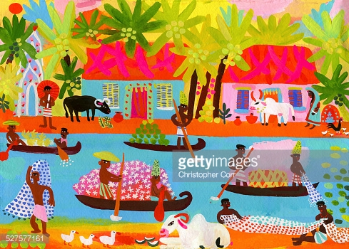 Village Life Fishing And Trading On A Canal In Kerala India Stock.
