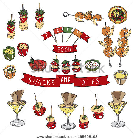 Vector Collection Vintage Party Canapes Dips Stock Vector.