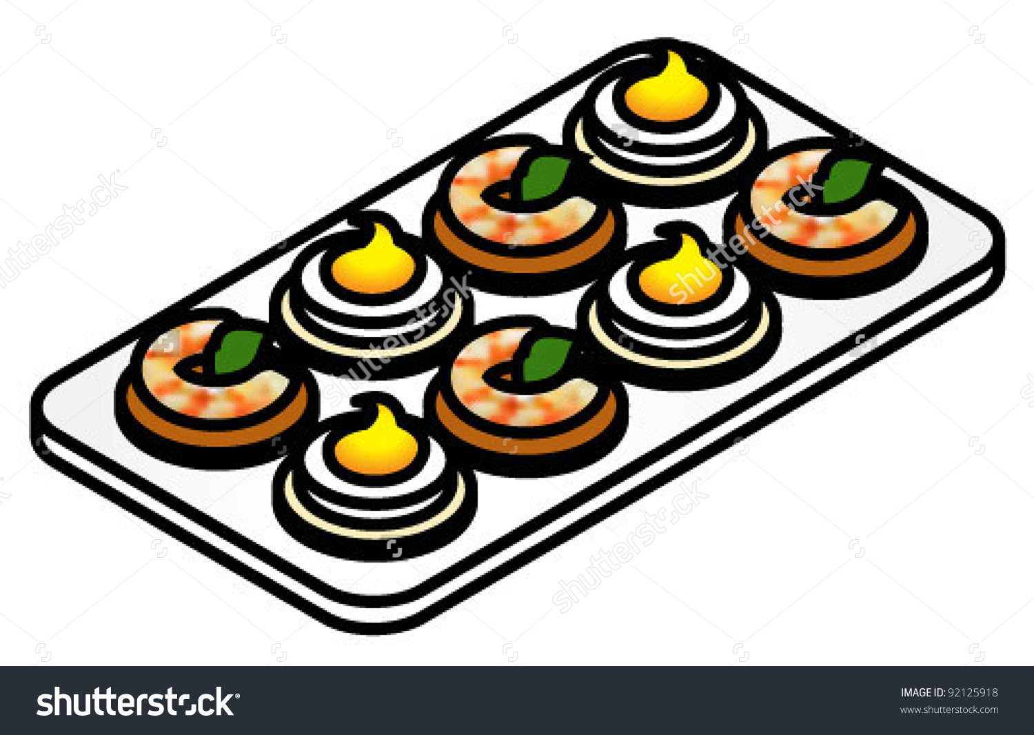 Plate Colorful Canapes Deviled Eggs Shrimp Stock Vector 92125918.