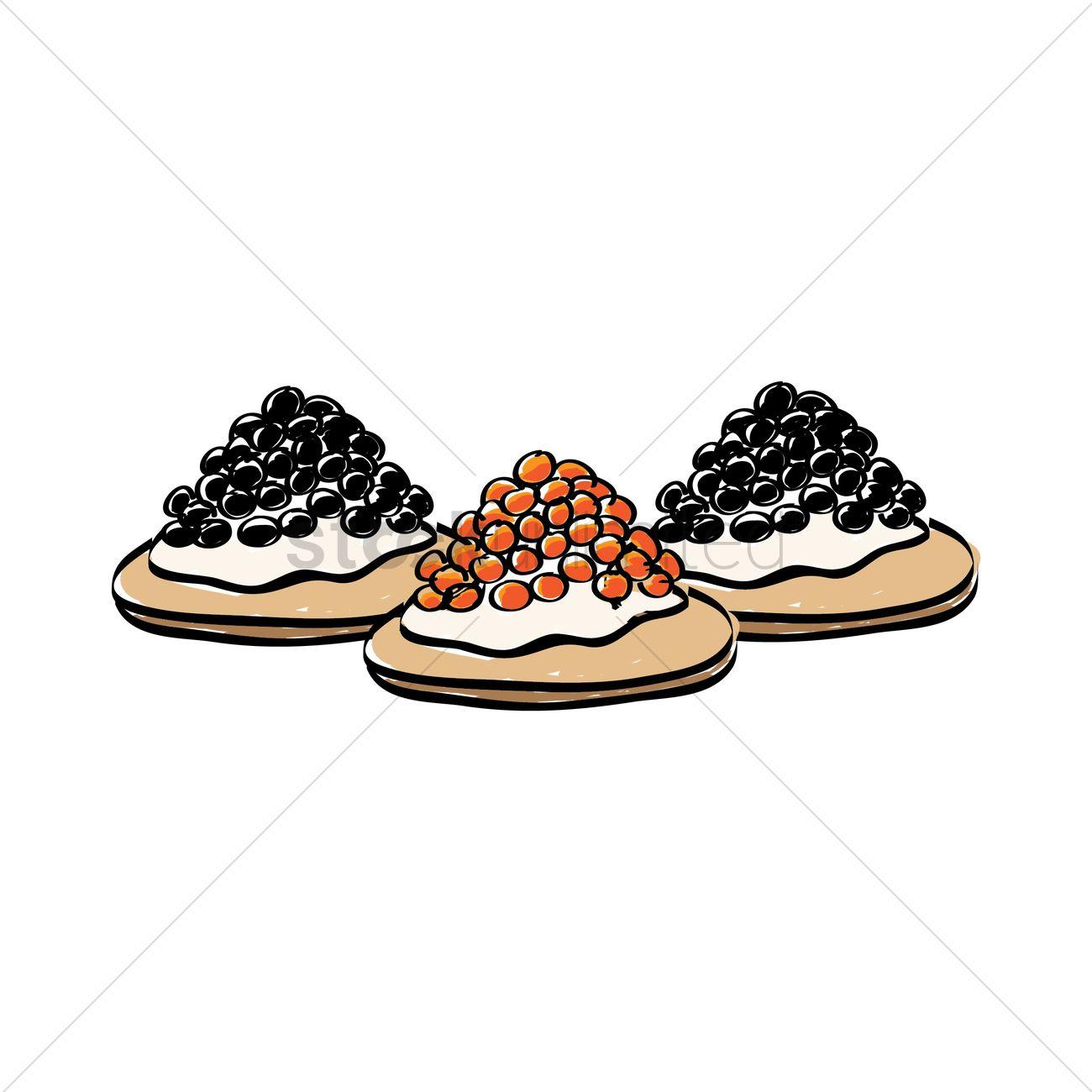 Caviar canapes Vector Image.