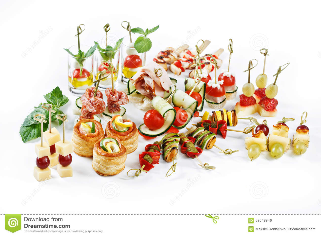 Great Attractive Set Of Canapes With Vegetables, Cheese, Fruits.