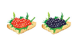 Black And Red Caviar Canape Stock Images.