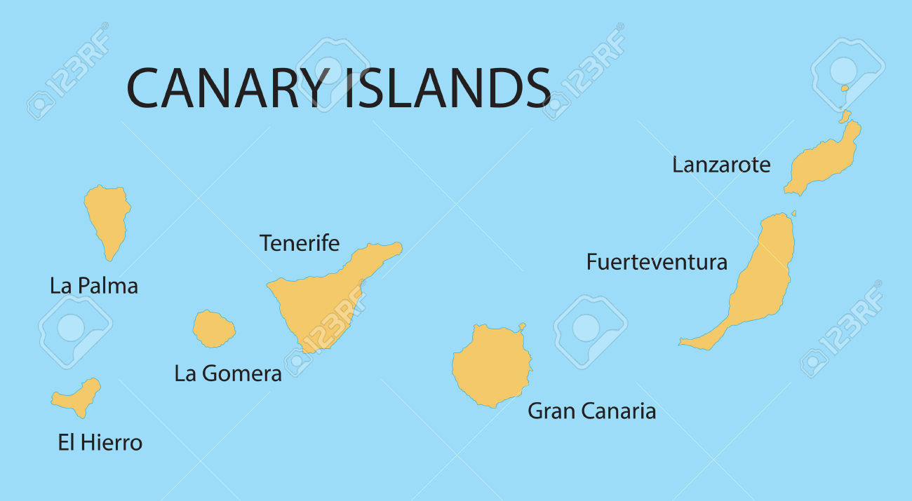 Yellow Map Of Canary Islands Royalty Free Cliparts, Vectors, And.