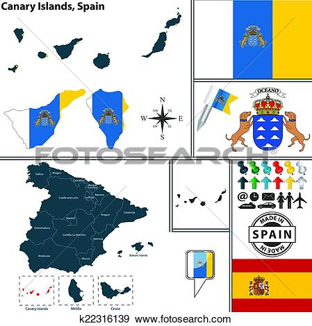 Clip Art of Map of Canary Islands, Spain k22316139.