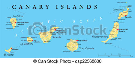 Vector Clipart of Canary Islands Political Map with Lanzarote.