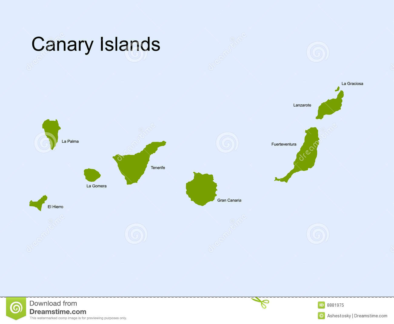 Canary Islands Vector Map Royalty Free Stock Photo.