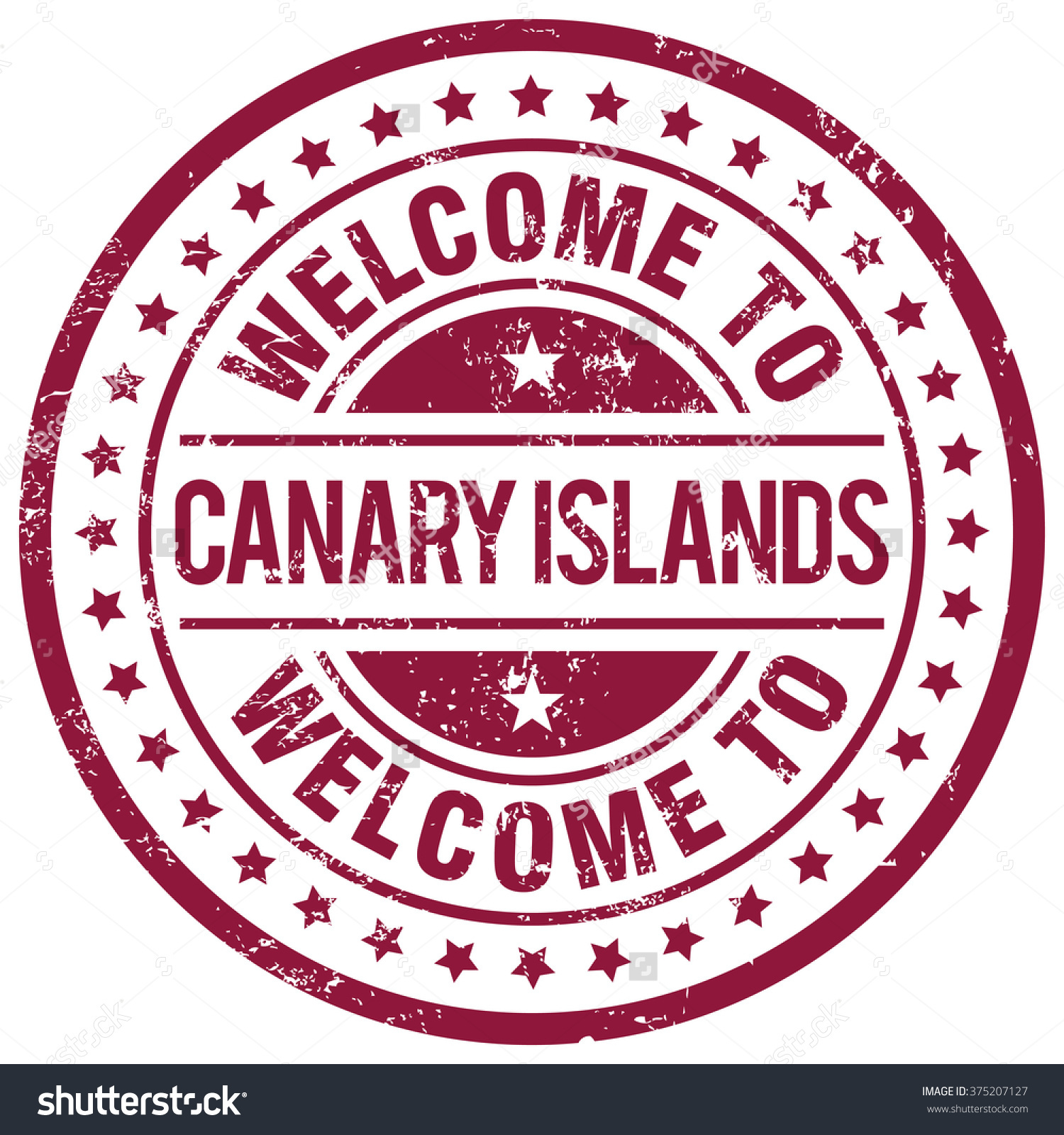 Welcome Canary Islands Stamp Stock Vector 375207127.