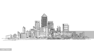 Canary Wharf Business Aria, London, Sketch Collection stock.