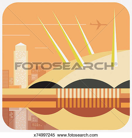 Stock Illustration of Canary Wharf and the Millennium Dome, London.