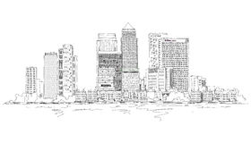 Canary Wharf Business Aria, London, Sketch Collection Illustration.