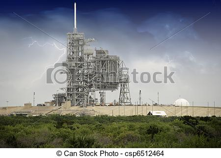 Drawing of Sky Colors over Space Shuttle Launch Pad in Cape.