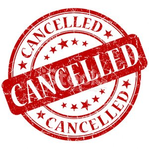 CANCELLED red stamp Clipart Image.