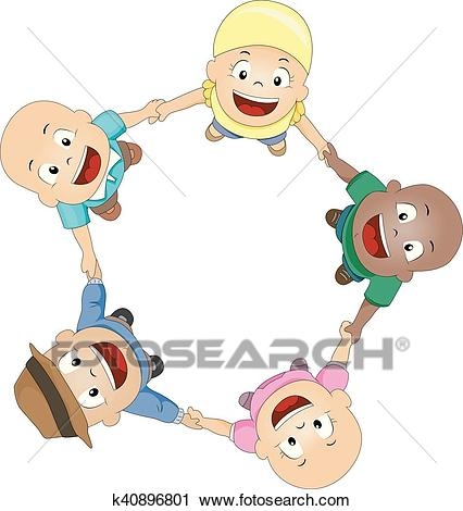 Kids Cancer Patients Fun Circle Clipart.