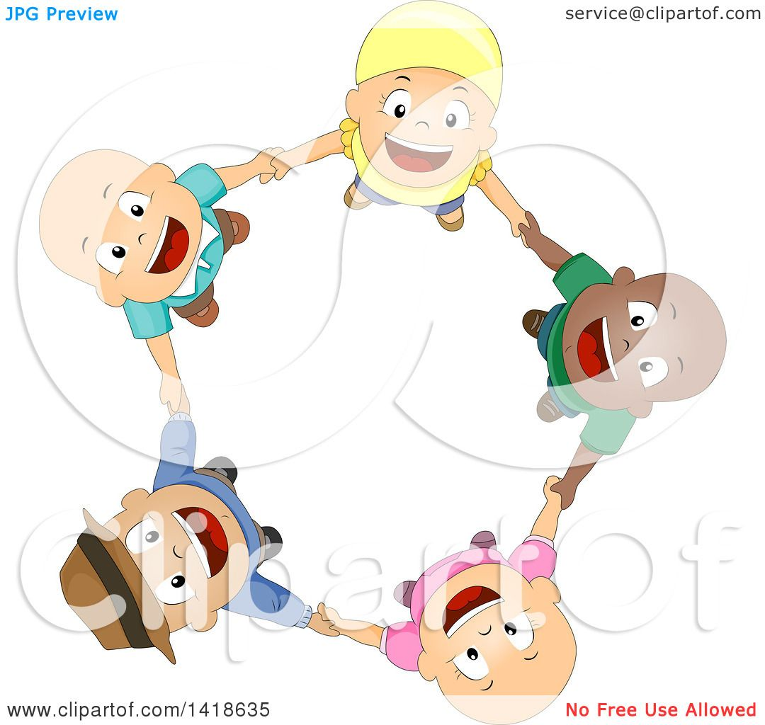 Clipart of a Circle of Bald Cancer Patient Children Holding Hands.
