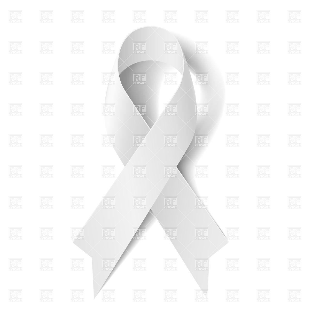White awareness ribbon on white background Stock Vector Image.