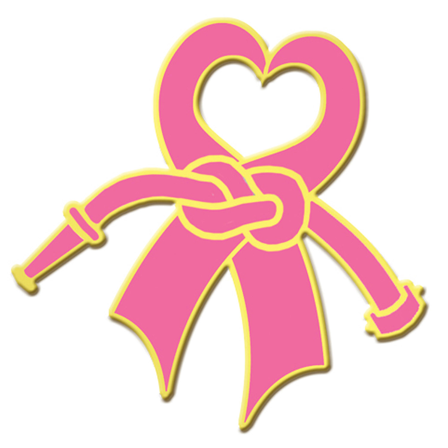 Blackinton Gold Plate Breast Cancer Awareness Heart Ribbon Lapel.