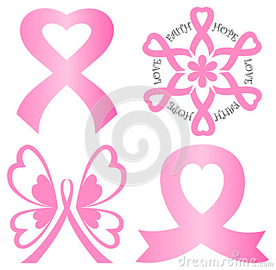 Breast Cancer Awareness Ribbon Women Heart Shape. Royalty Free.