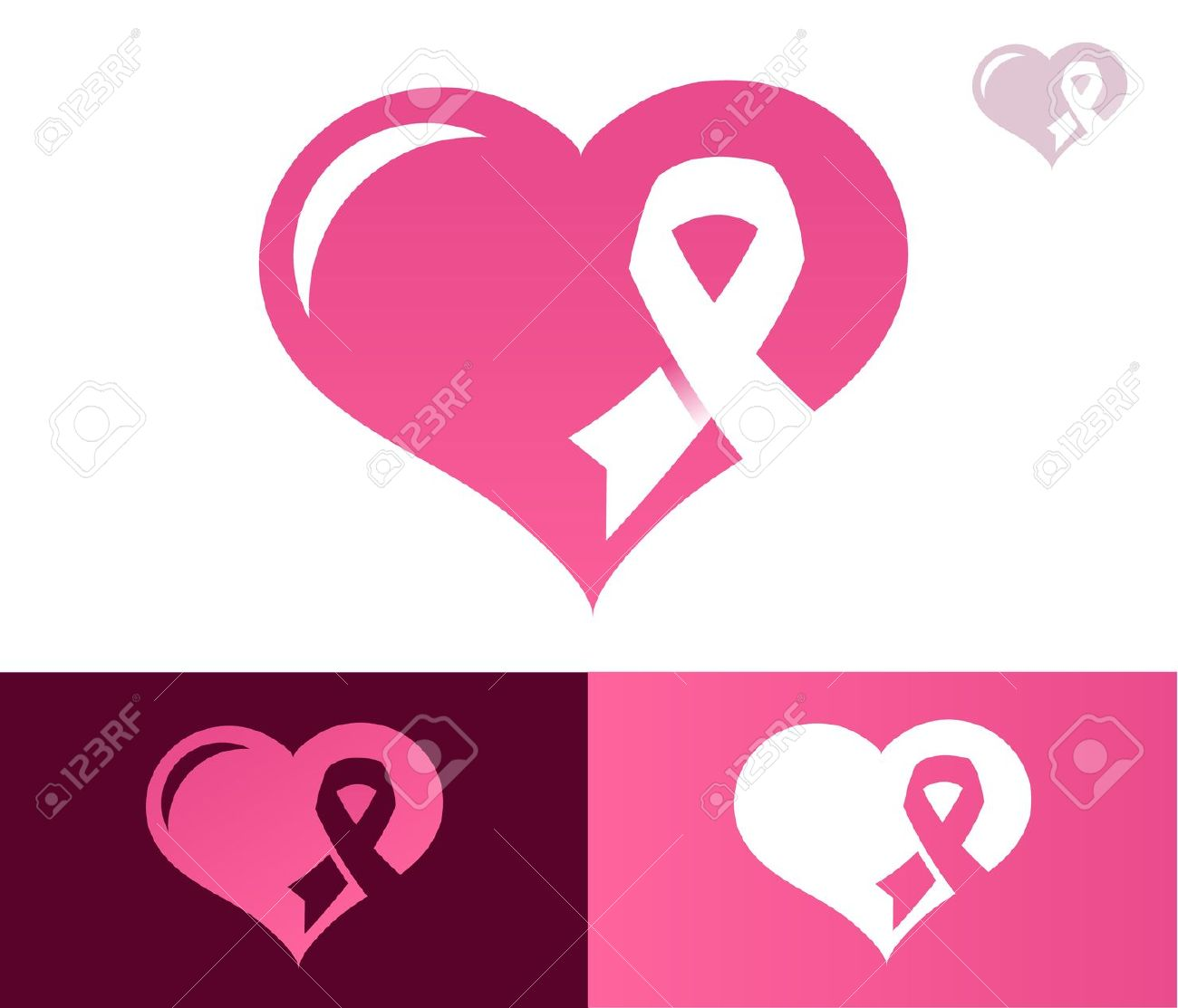 Heart With Pink Ribbon Icon For Breast Cancer Awareness Royalty.