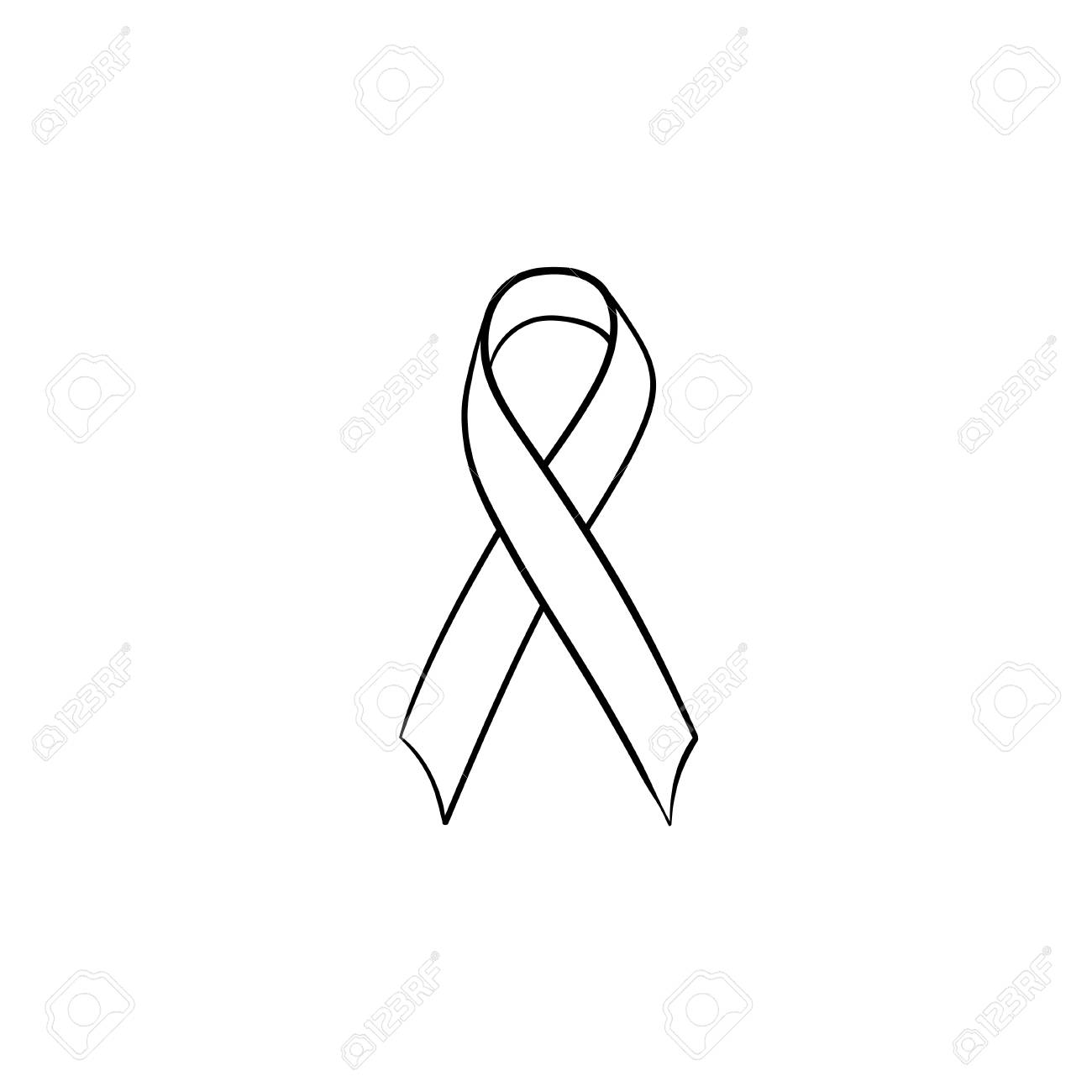 Awareness ribbon hand drawn outline doodle icon. Breast cancer...