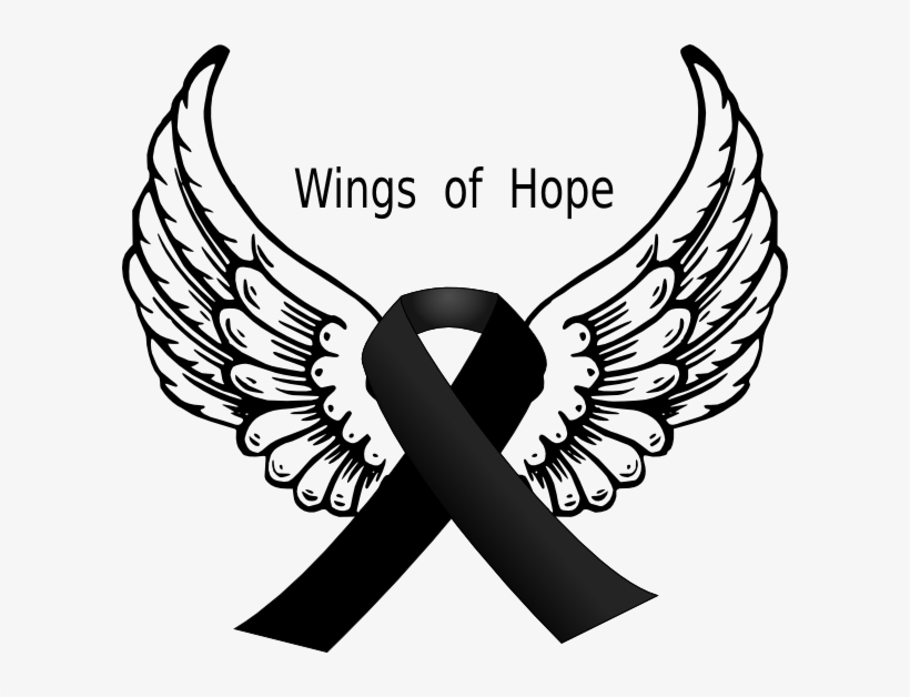 Black Ribbon Wings Clip Art.