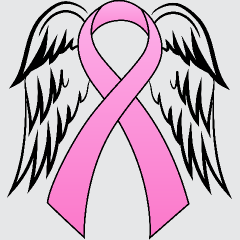 Pink Ribbon With Angel Wings For My Grandmother.